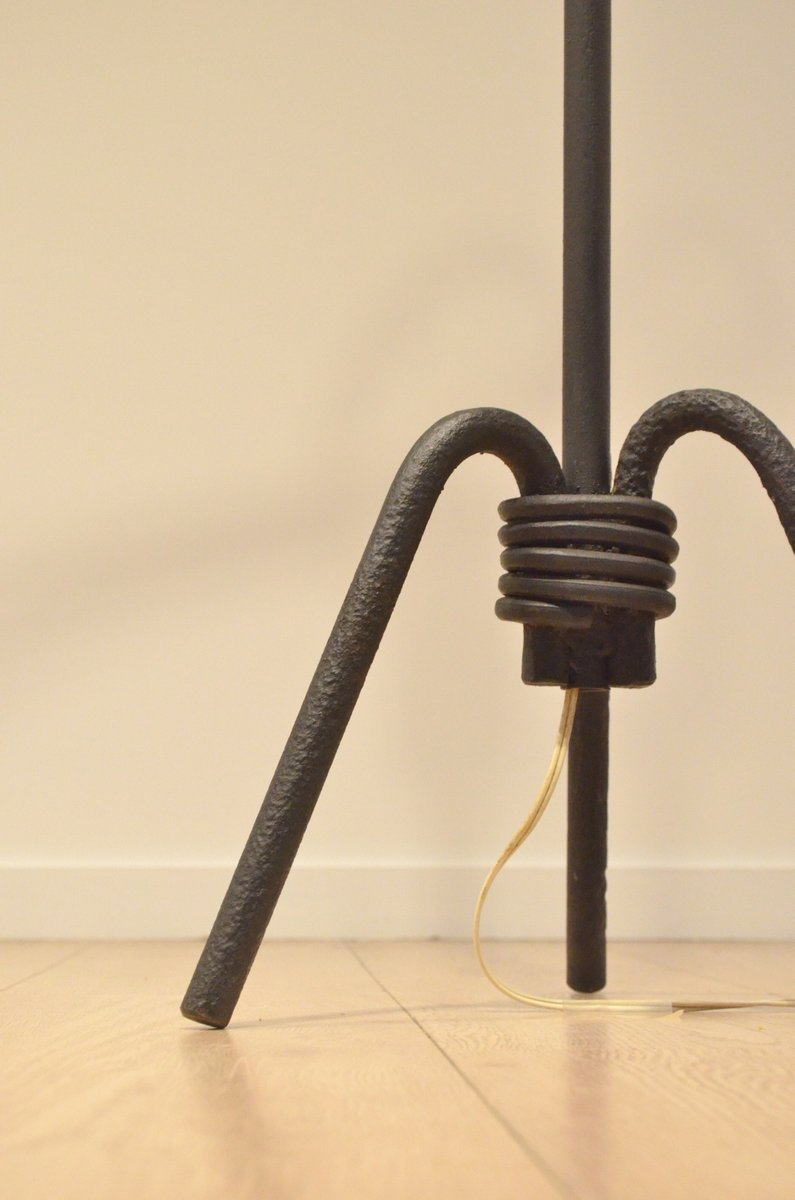 Mid century french sculptural wrought iron floor lamp for for Floor in french translation