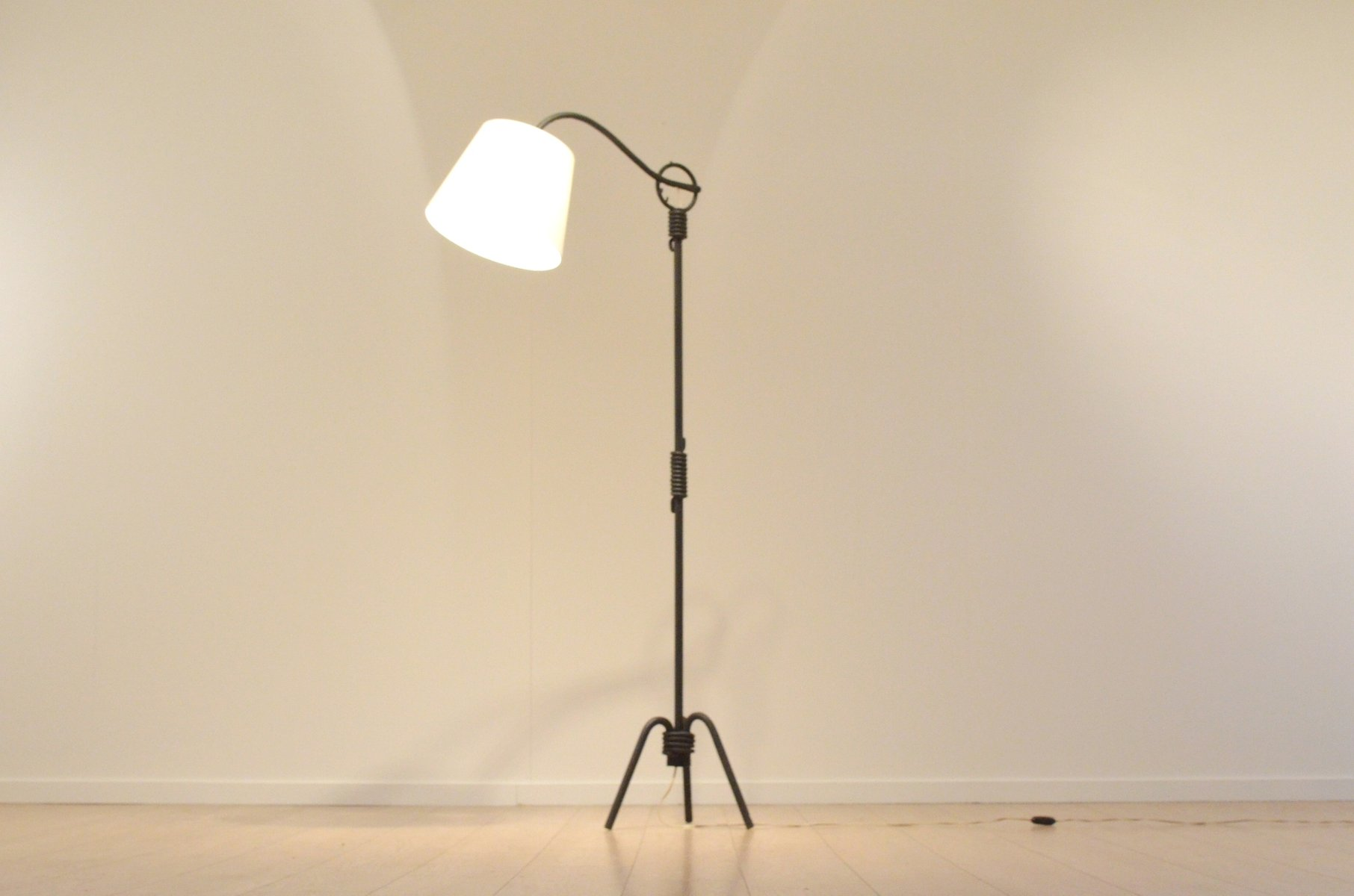Mid Century French Sculptural Wrought Iron Floor Lamp