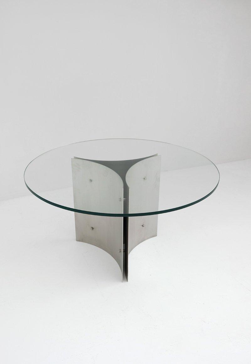 Tavolo da pranzo rotondo in acciaio e vetro, anni \'70 in vendita su ...