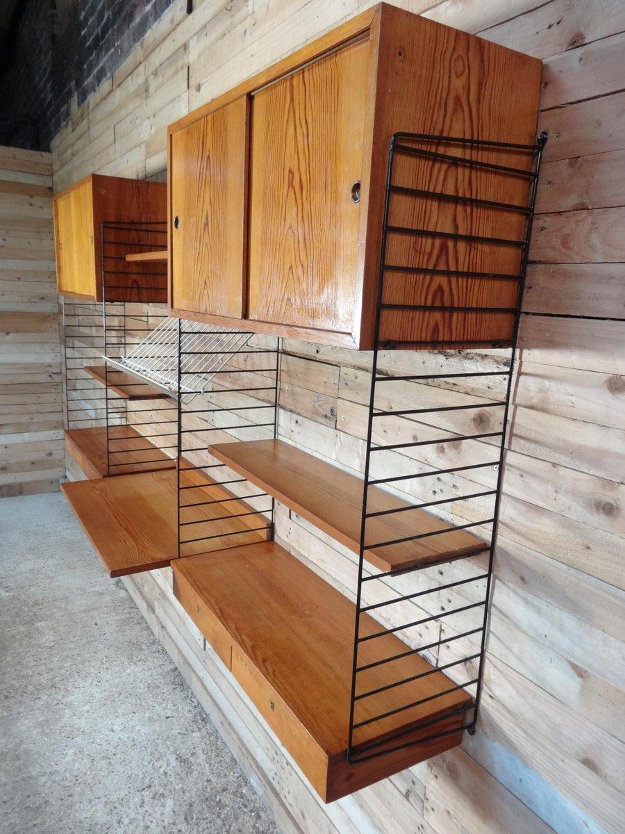gro es wandregal mit schreibplatte von nisse strinning f r string 1950er bei pamono kaufen. Black Bedroom Furniture Sets. Home Design Ideas