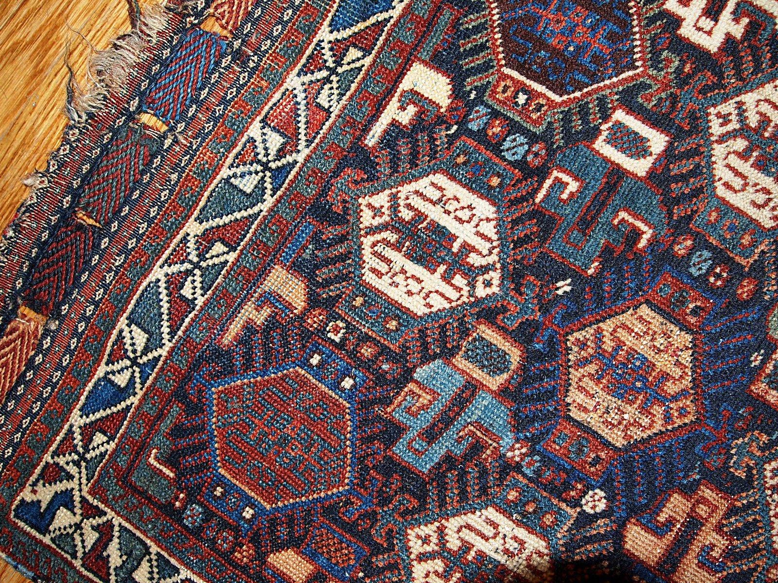 antiker handgekn pfter persischer khamseh teppich 1880er. Black Bedroom Furniture Sets. Home Design Ideas