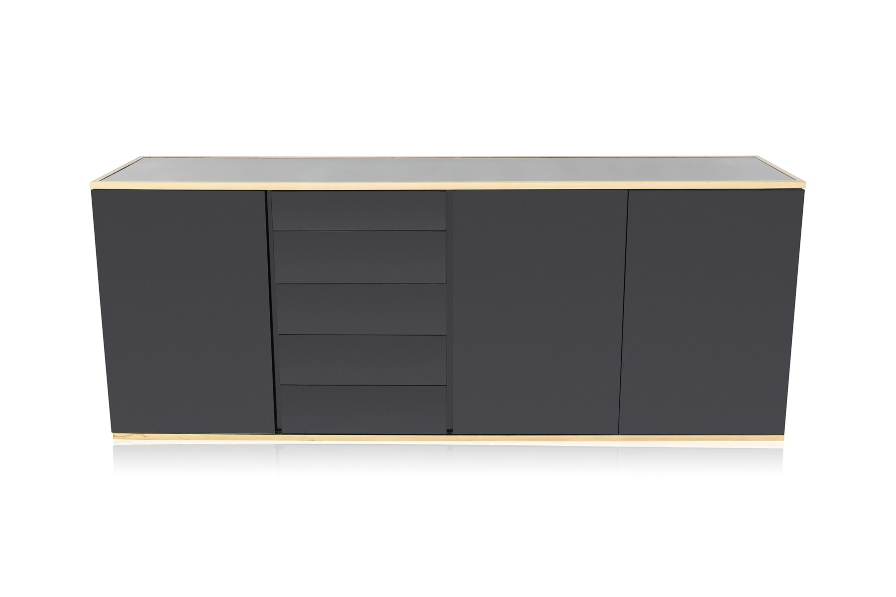 cr dence laqu e noire de roche bobois 1980s en vente sur pamono. Black Bedroom Furniture Sets. Home Design Ideas