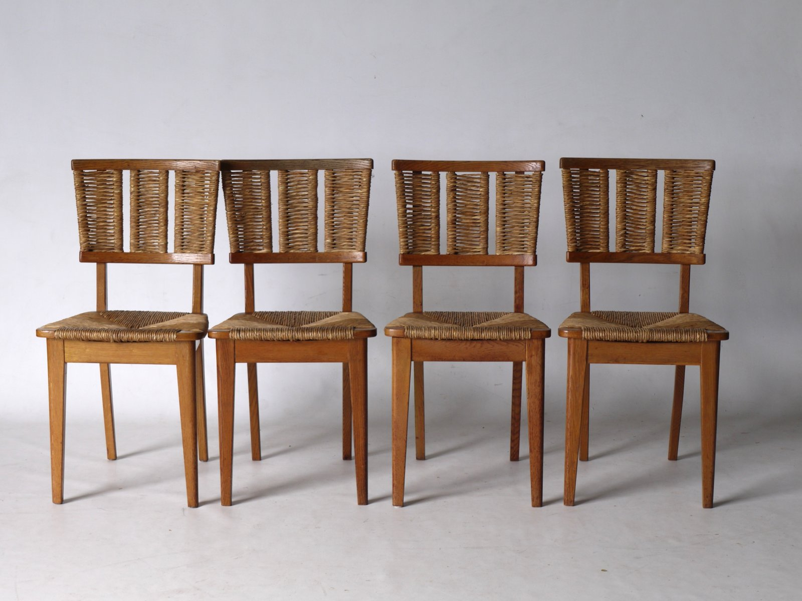 Oak Rush Dining Chairs By Mart Stam For Van Der Kley 1947 Set Of 4