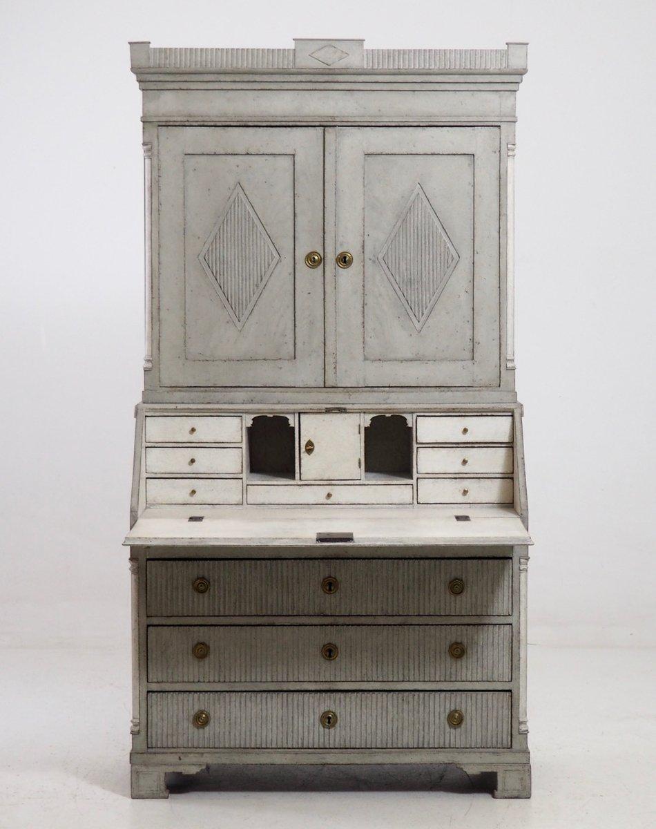 antiker zweiteiliger gustavianischer sekret r mit. Black Bedroom Furniture Sets. Home Design Ideas