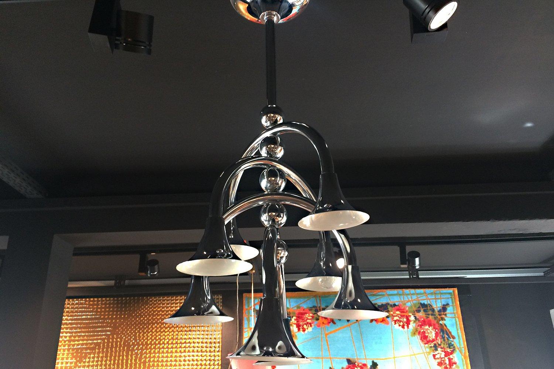 italienische deckenlampe mit trompetenf rmigen schirmen bei pamono kaufen. Black Bedroom Furniture Sets. Home Design Ideas