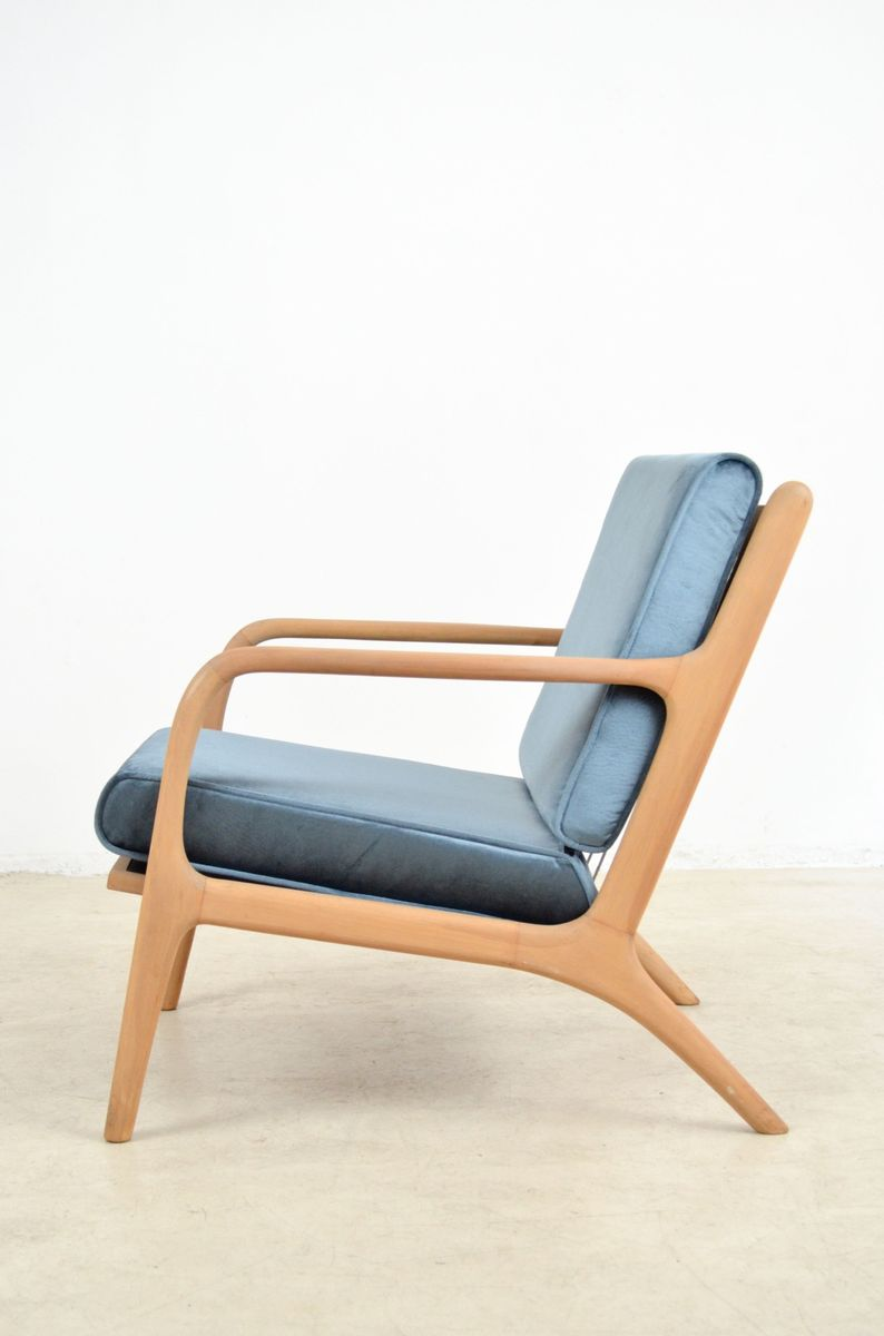 tschechischer sessel mit blauem samtbezug bei pamono kaufen. Black Bedroom Furniture Sets. Home Design Ideas