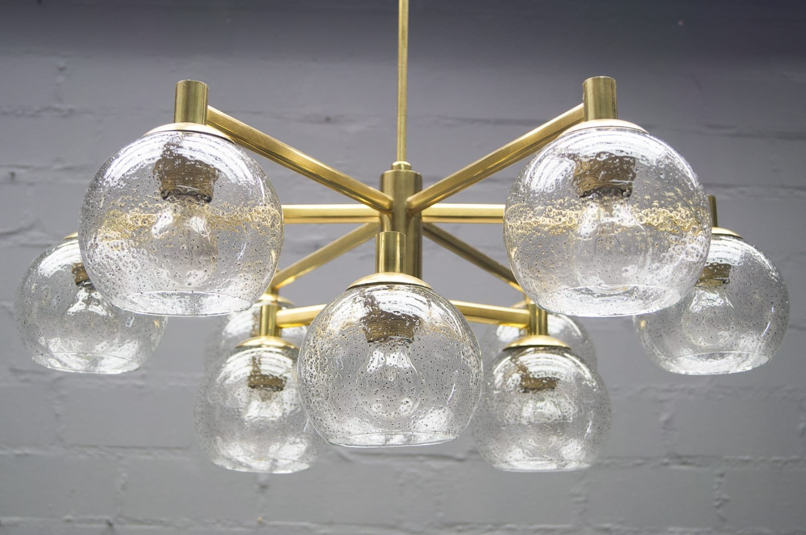 Brass vintage chandelier with nine glass spheres 1960s for sale at brass vintage chandelier with nine glass spheres 1960s aloadofball Gallery