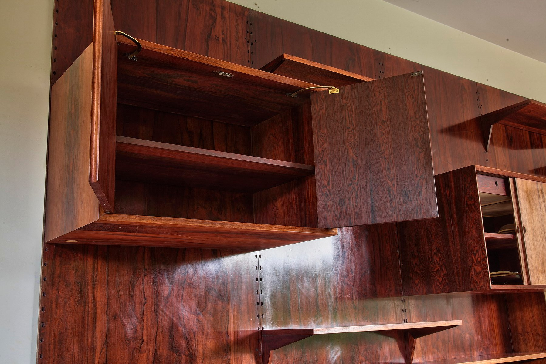 Mid Century Danish Brazilian Rosewood Wall Unit by Poul Cadovius