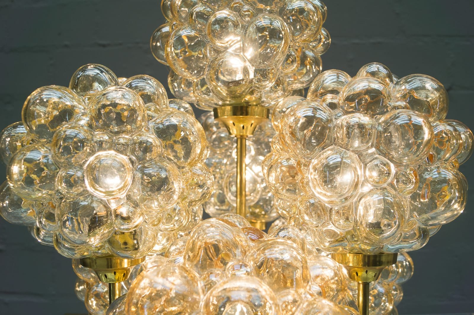 Gold Bubble Glass Ceiling Light by Helena Tynell for Limburg, 1960s ...