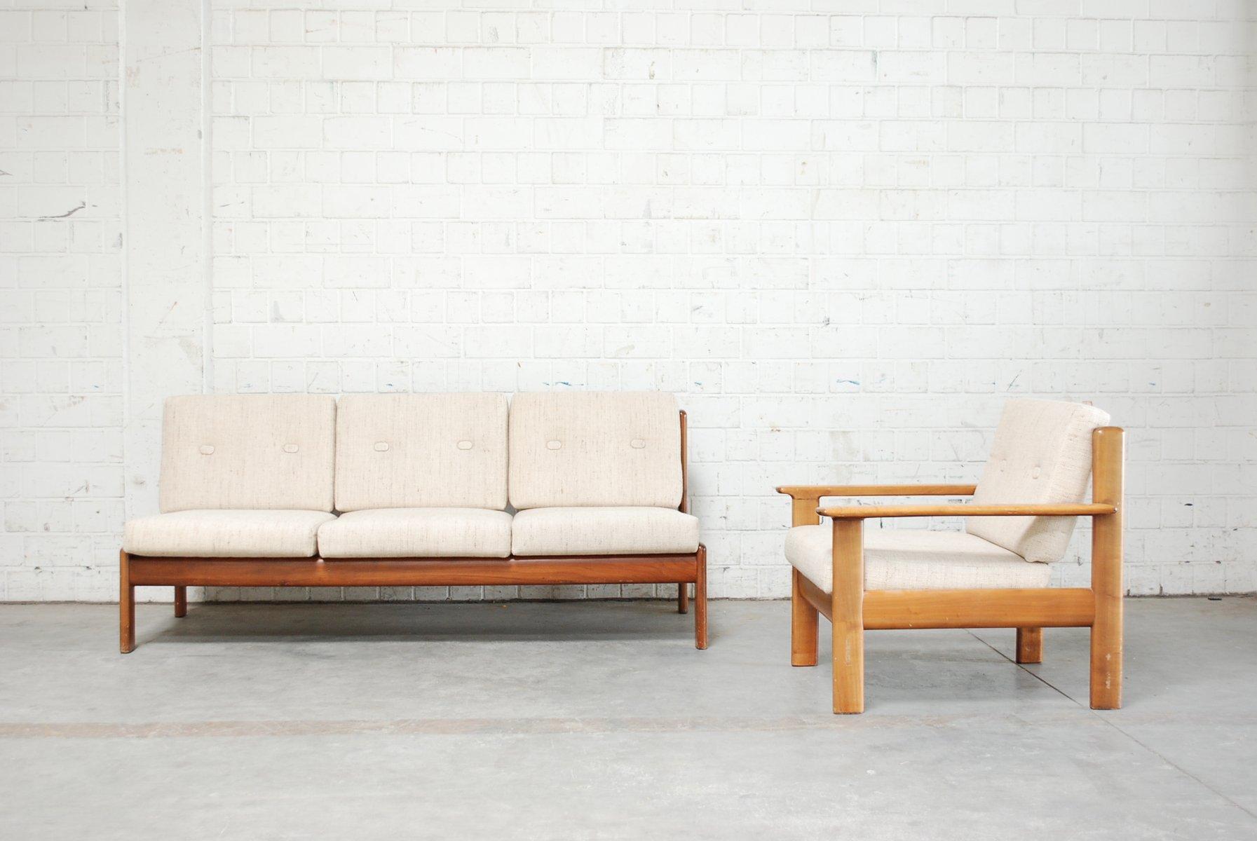 d nisches vintage kirschholz sofa sessel von knoll bei pamono kaufen. Black Bedroom Furniture Sets. Home Design Ideas