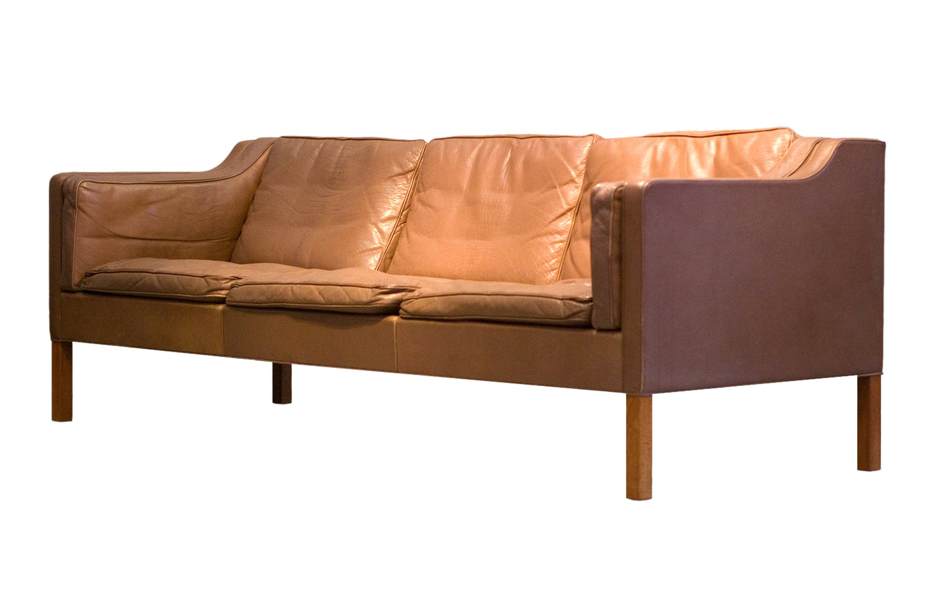 Mid Century Model 2213 Brown 3 Seater Leather Sofa By Børge Mogensen For Fredericia 1977 At Pamono