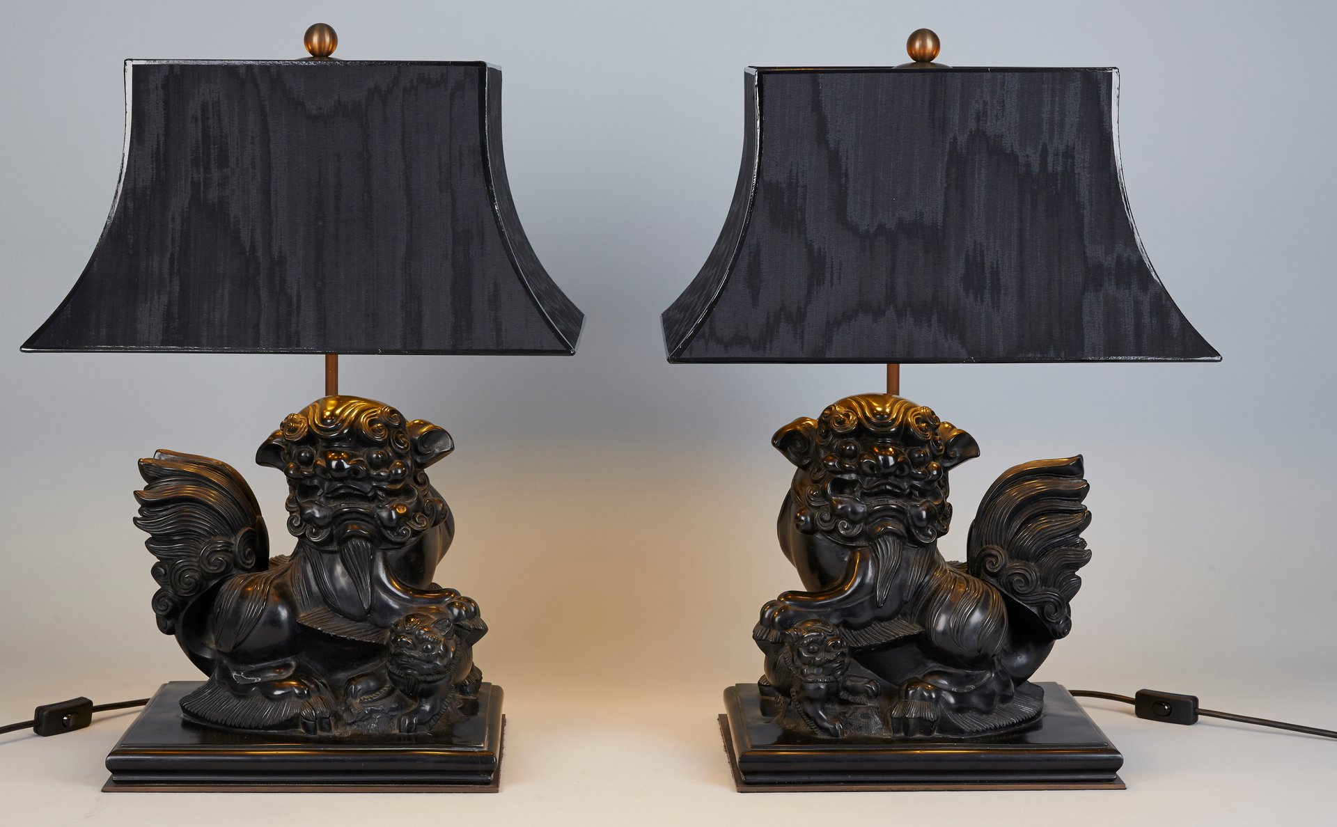Carved Cast Stone Foo Dog Table Lamps, 1970s, Set Of 2