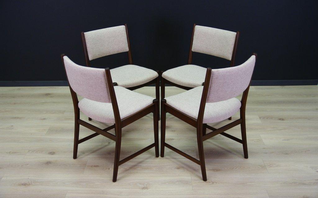 skandinavische mid century mahagoni st hle 4er set bei pamono kaufen. Black Bedroom Furniture Sets. Home Design Ideas