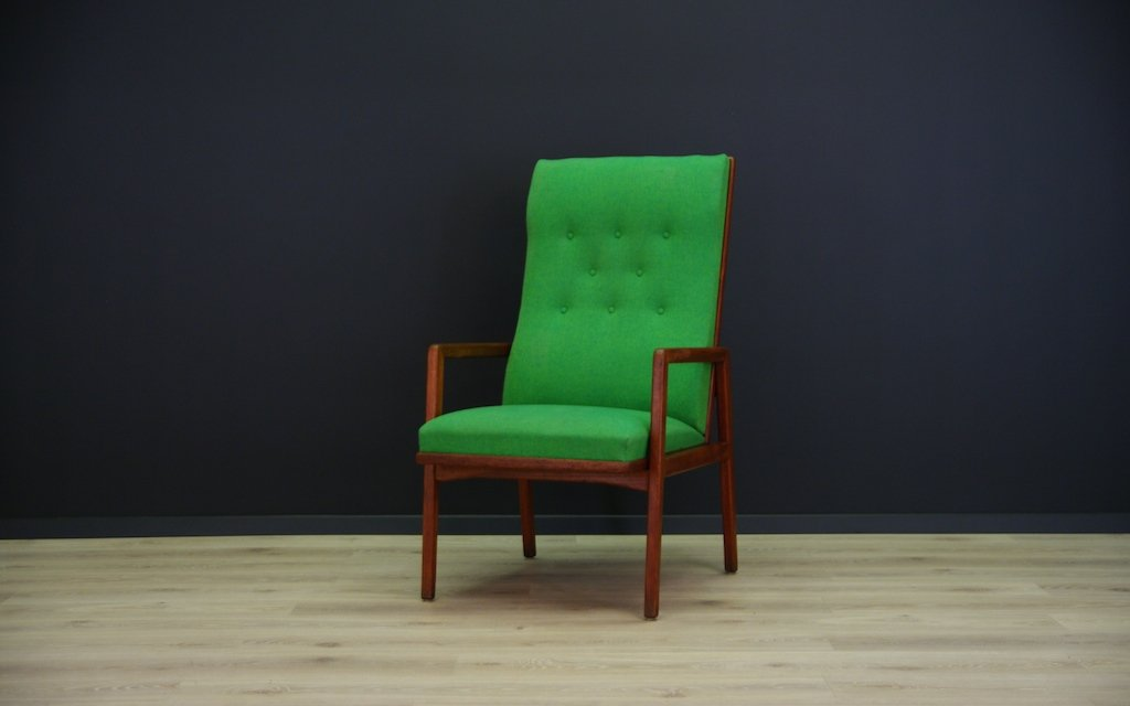 Vintage Danish Armchair With Green Fabric