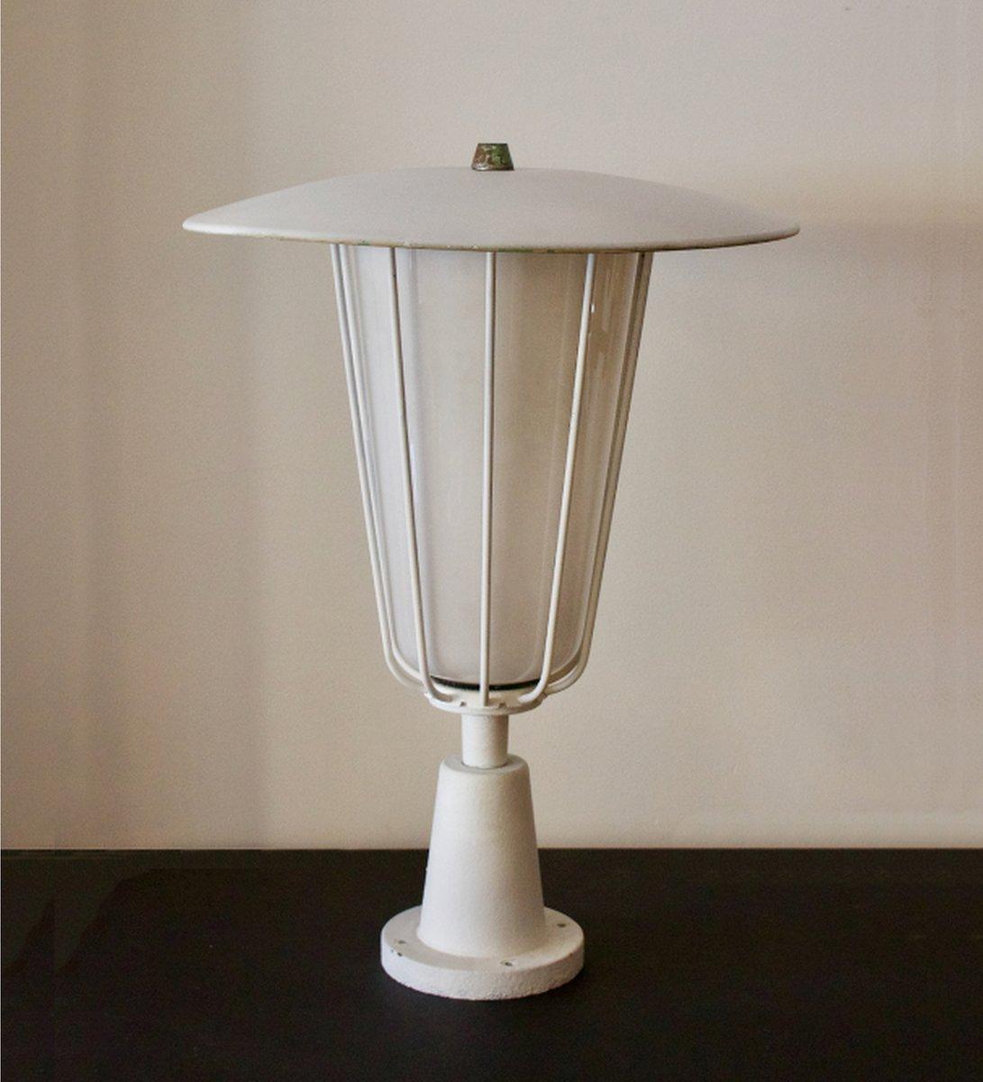 Lanterna da giardino grande vintage con paralume in vetro opalino di ...