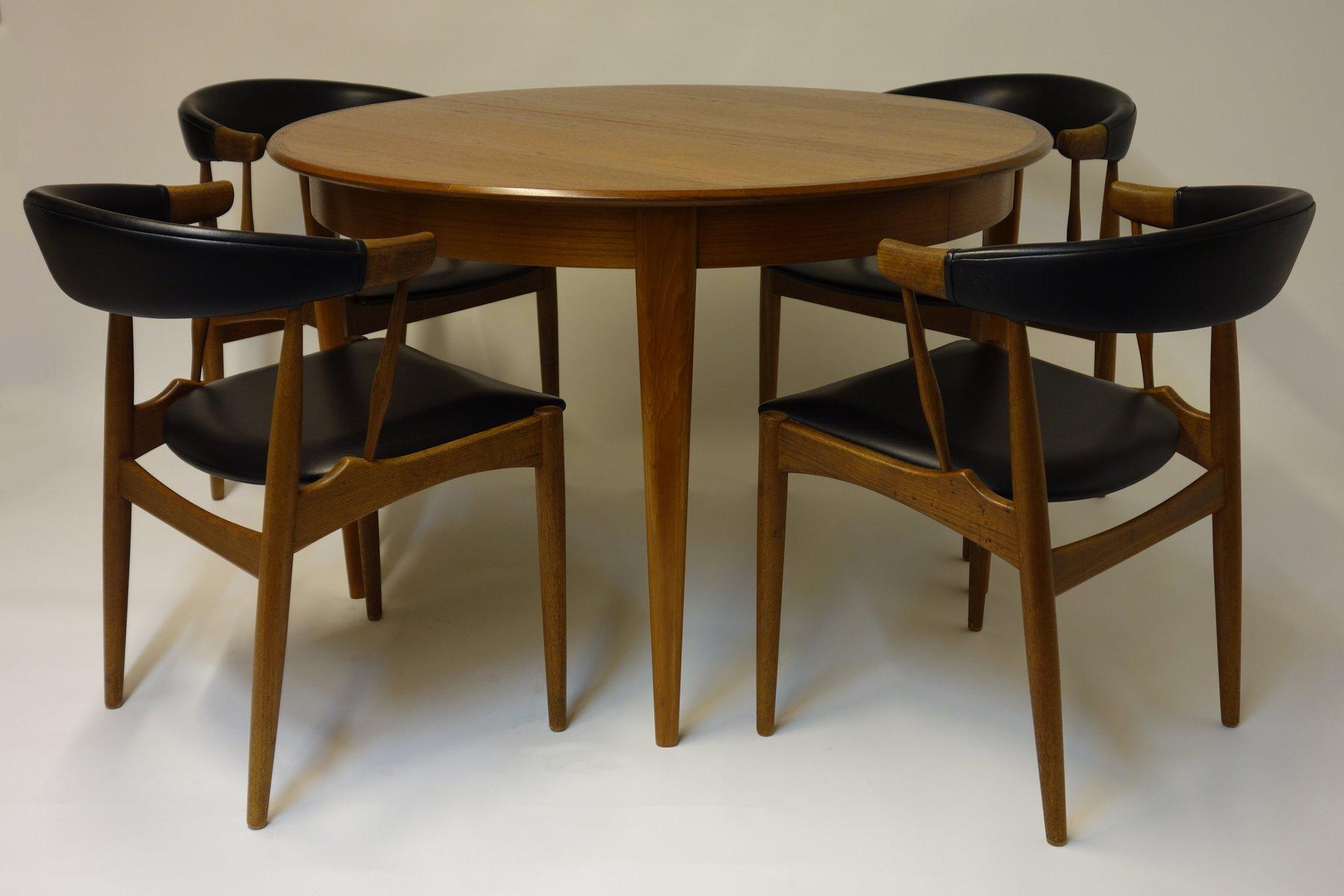 ausziehbarer esstisch mit zwei erweiterungen vier st hle von brdr andersen 1966 bei pamono. Black Bedroom Furniture Sets. Home Design Ideas