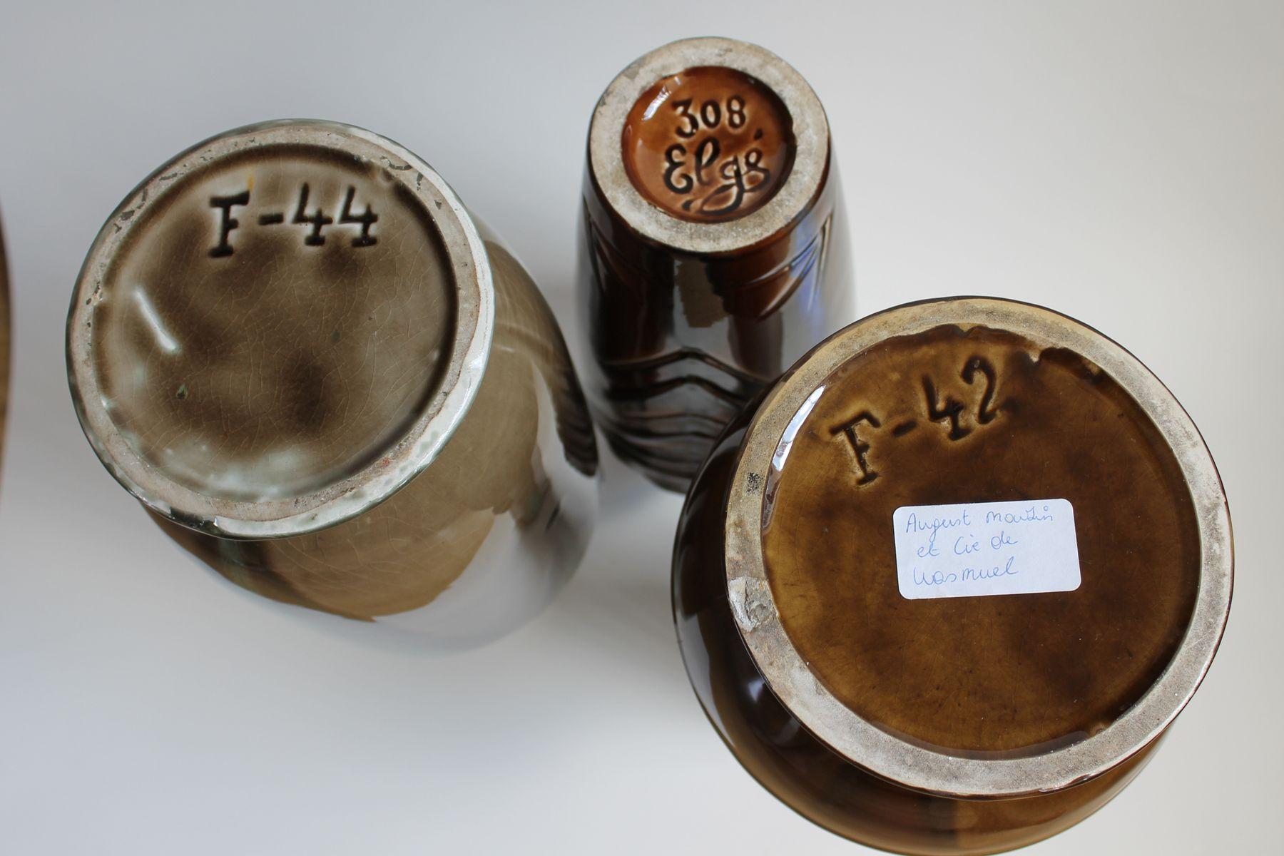 art deco vases from august mouzin et cie 1930s set of 3. Black Bedroom Furniture Sets. Home Design Ideas