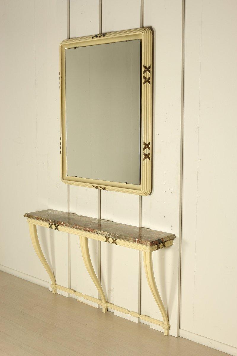Consolle Mid-Century con specchio in marmo e legno, Italia in ...