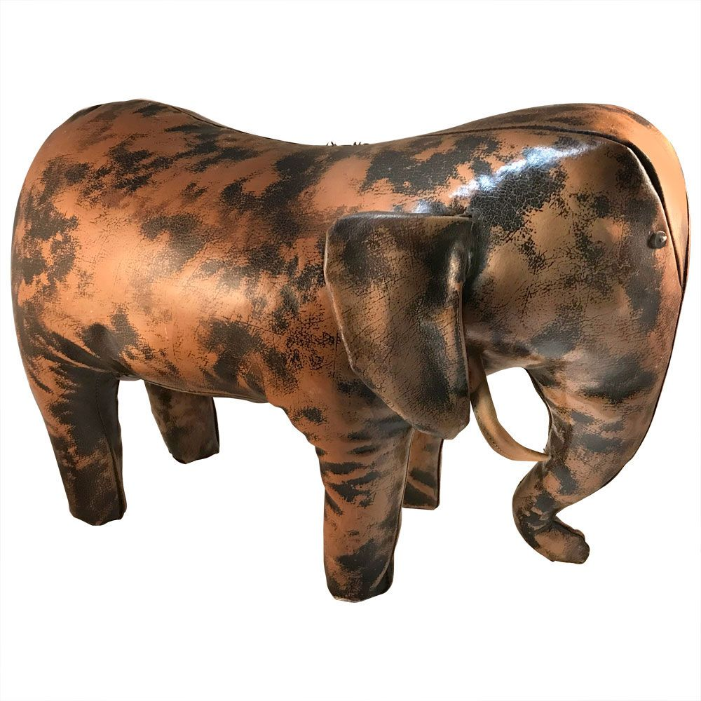 Spanish leather elephant footstool from sarreid 1960s for for Designhotel elephant prague 1 czech republic