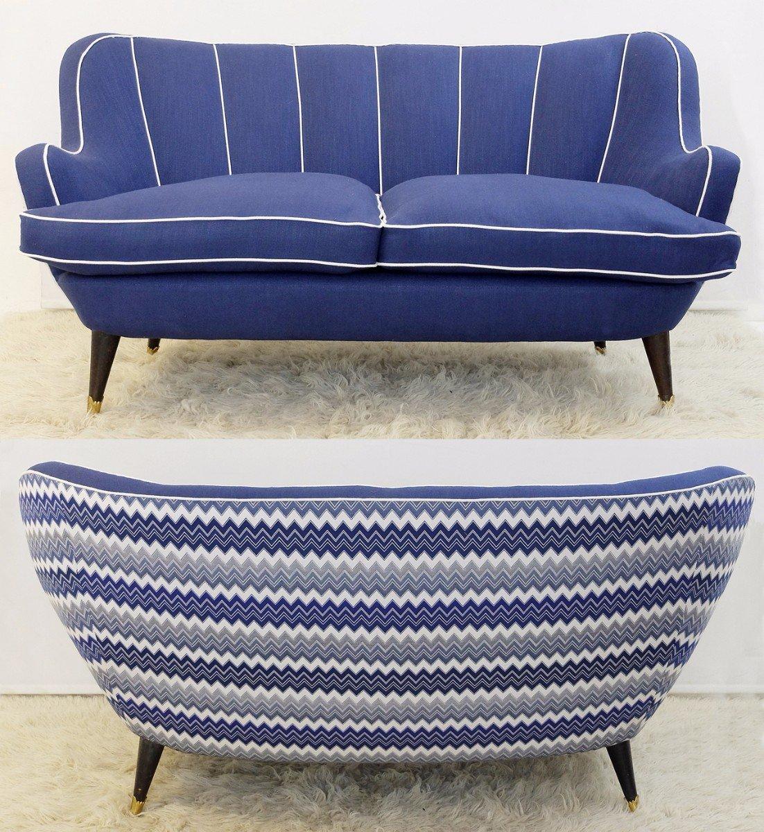 k nigsblaues italienisches vintage sofa bei pamono kaufen. Black Bedroom Furniture Sets. Home Design Ideas