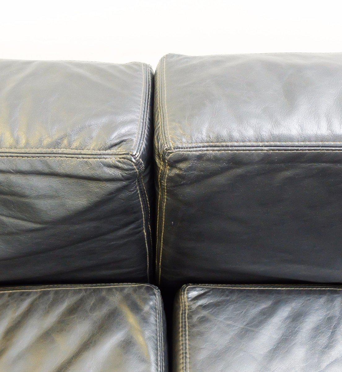 schwarze vintage ledersofa 2er set bei pamono kaufen. Black Bedroom Furniture Sets. Home Design Ideas