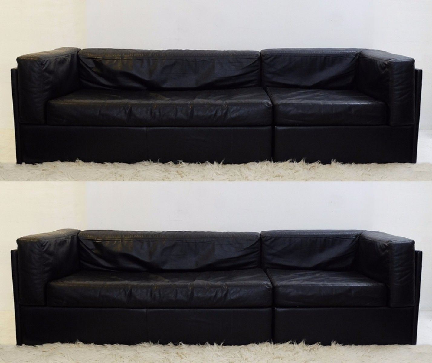 Vintage Black Leather Sofas Set Of 2 For At Pamono