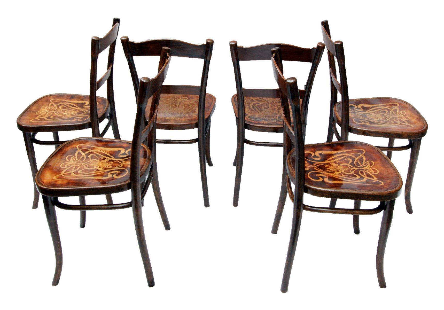 Sedie da pranzo antiche in legno decorato di Thonet, set di 6 in ...