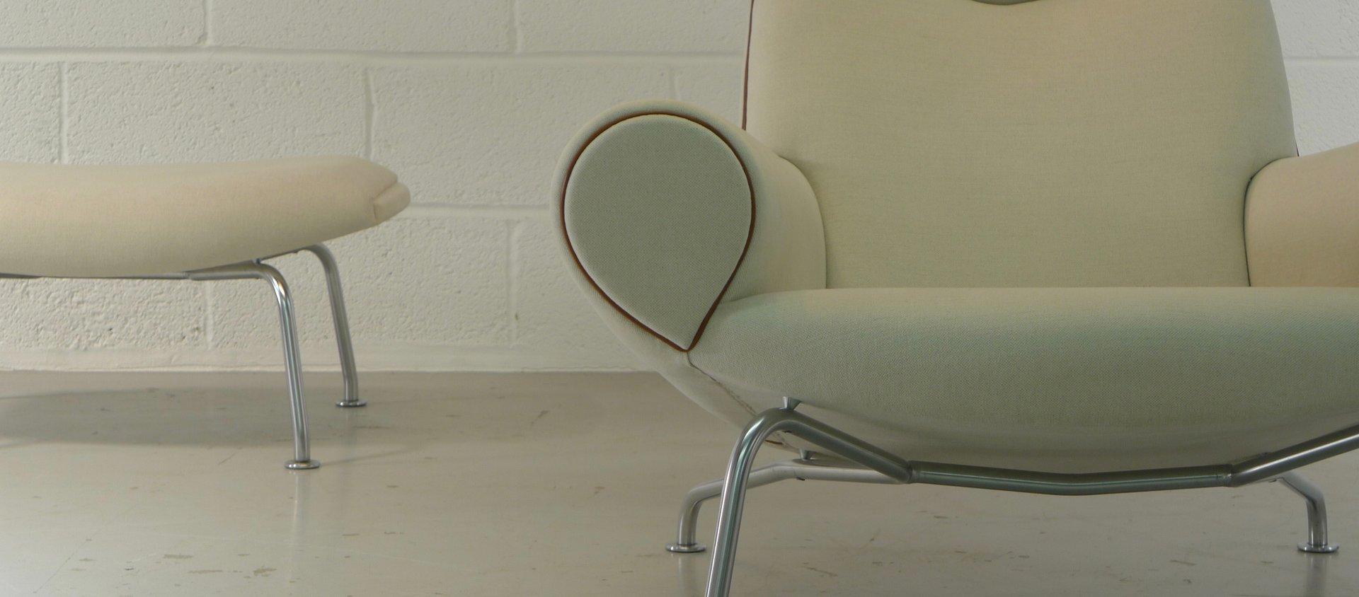 ox sessel hocker von hans wegner f r erik jorgensen 1980er bei pamono kaufen. Black Bedroom Furniture Sets. Home Design Ideas