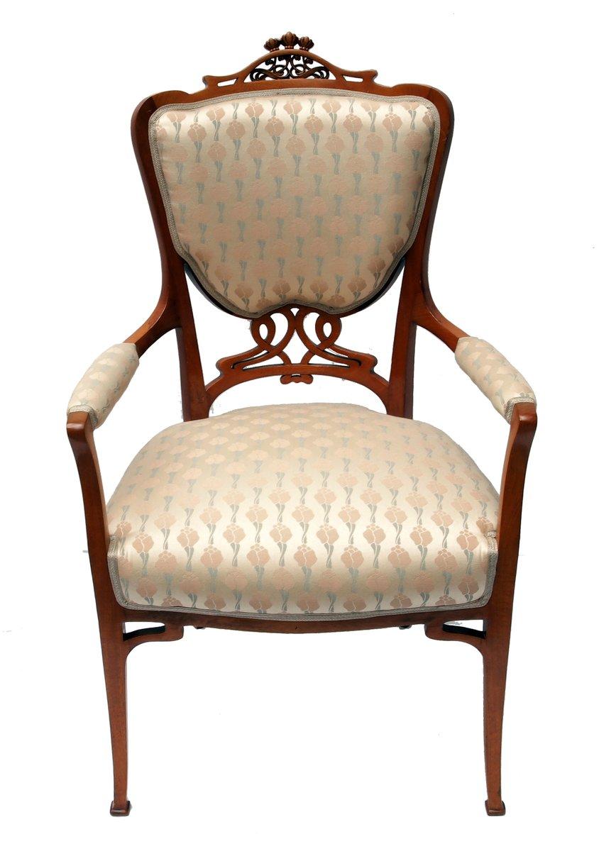 jugendstil mahagoni armlehnstuhl mit wiener bezug bei. Black Bedroom Furniture Sets. Home Design Ideas
