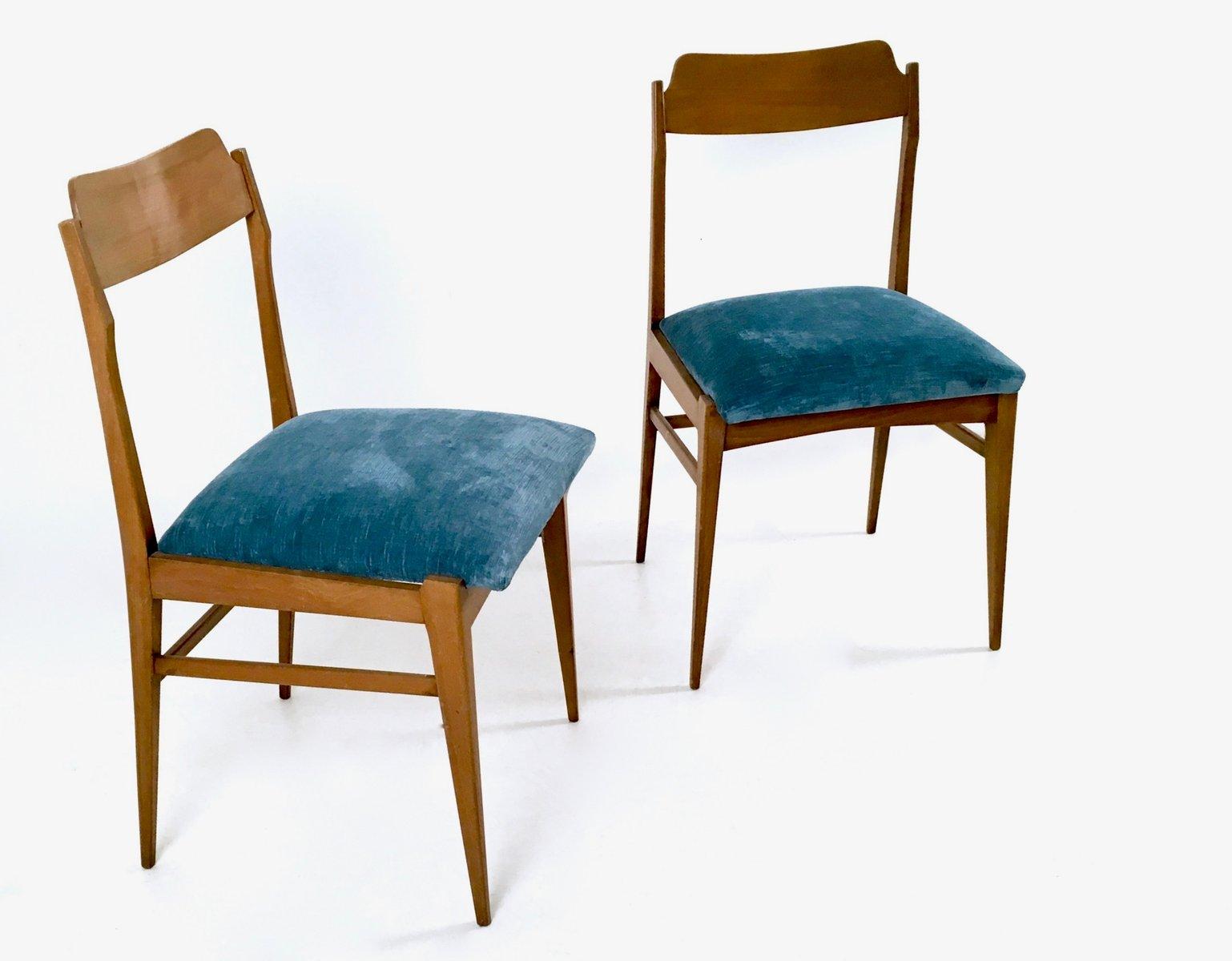 italienische st hle aus teak samt 1950er 2er set bei pamono kaufen. Black Bedroom Furniture Sets. Home Design Ideas
