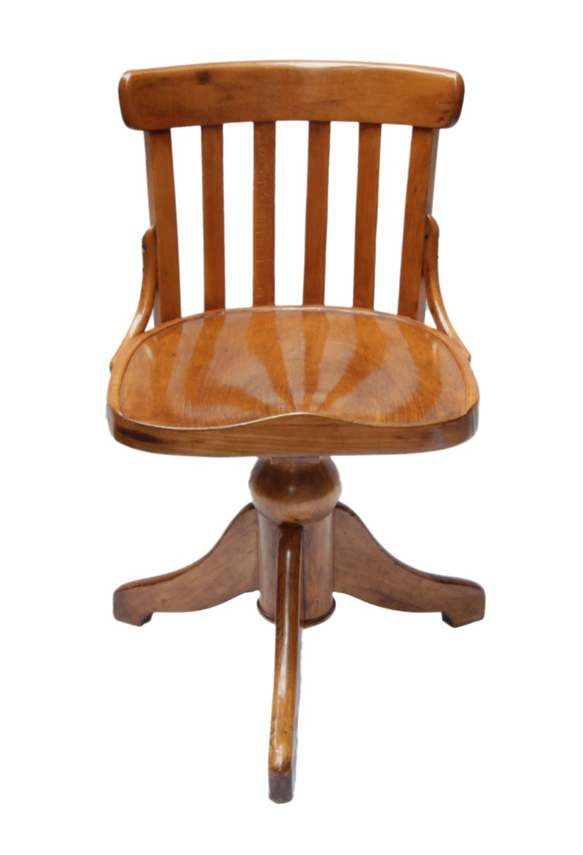 Antique Beech Wood Swivel Chair - Antique Beech Wood Swivel Chair For Sale At Pamono