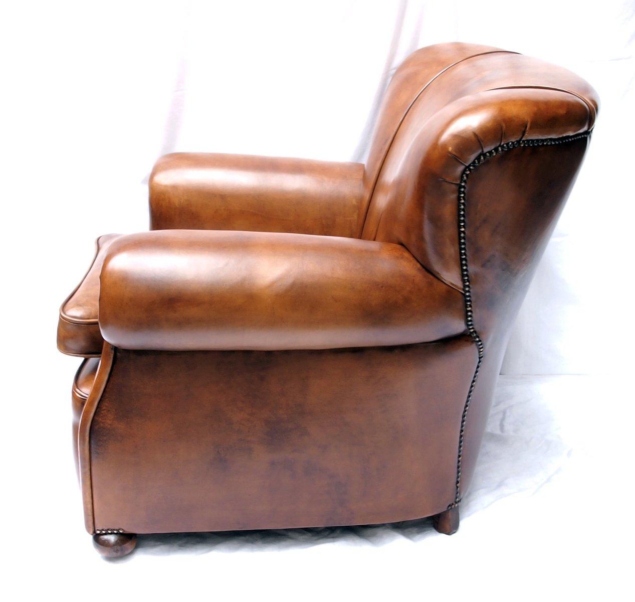 fauteuil club art d co en cuir pays bas en vente sur pamono. Black Bedroom Furniture Sets. Home Design Ideas
