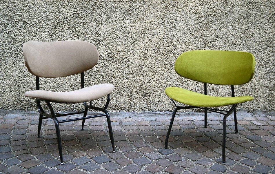 italienische lackierte st hle aus metall 1950er 2er set bei pamono kaufen. Black Bedroom Furniture Sets. Home Design Ideas
