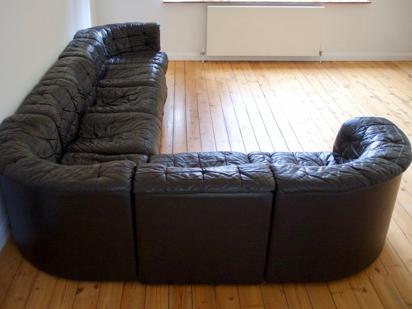 schwarzes modulares ledersofa von de sede 1970er bei. Black Bedroom Furniture Sets. Home Design Ideas