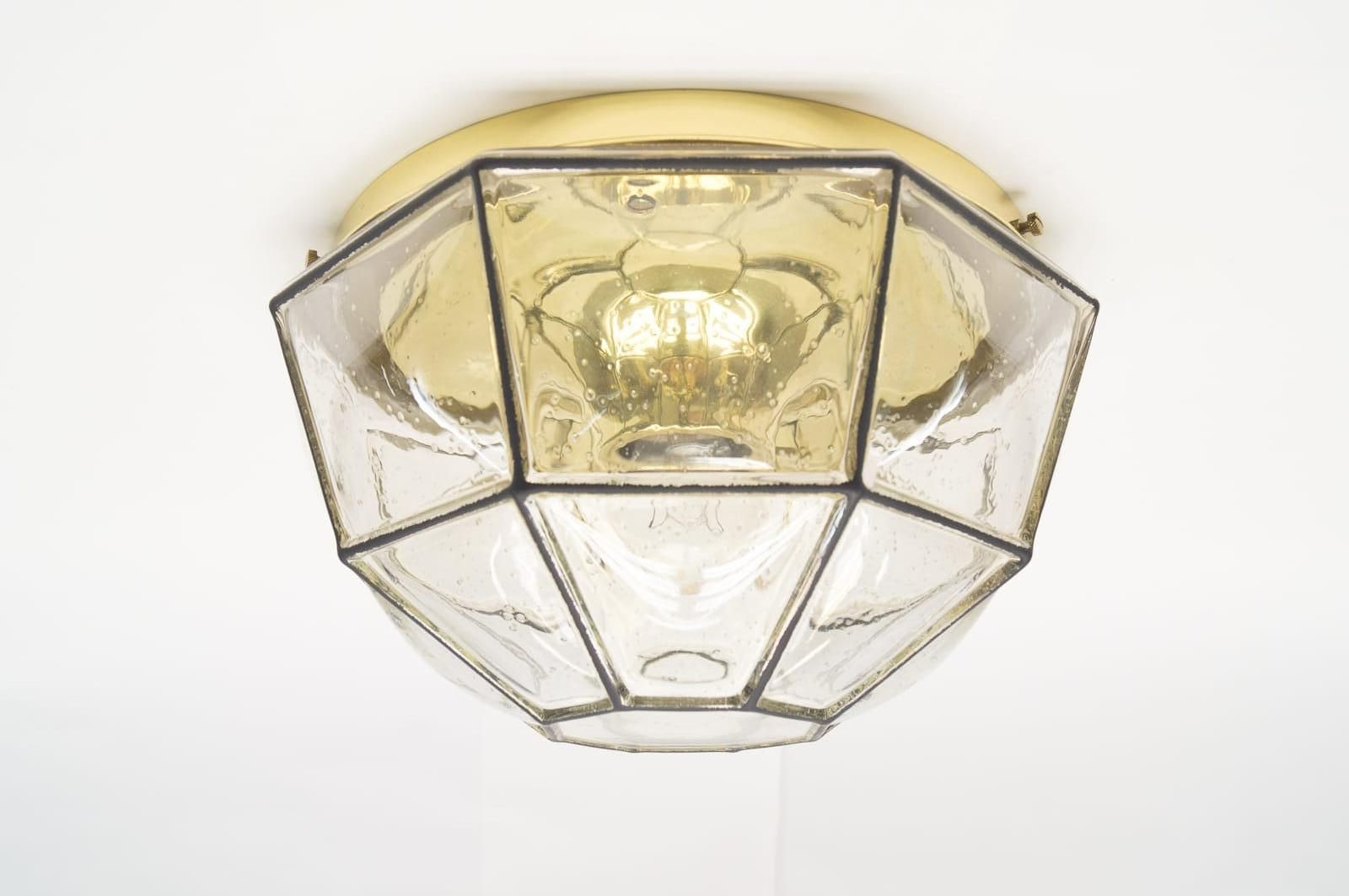 Vintage Glass and Iron Wall or Ceiling Lamp from Limburg, 1960s for ...