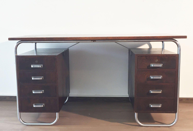 Bauhaus schreibtisch aus verchromtem stahl get nter for Schreibtisch 2 meter lang