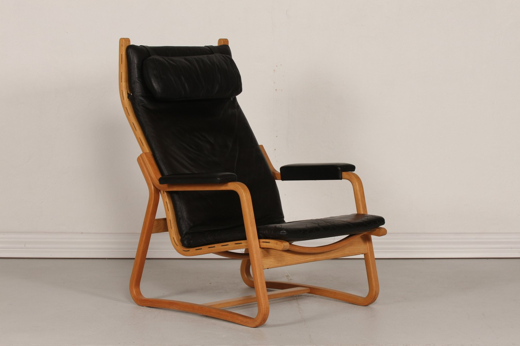 mid century danish black leather chair by ditte adrian heath for