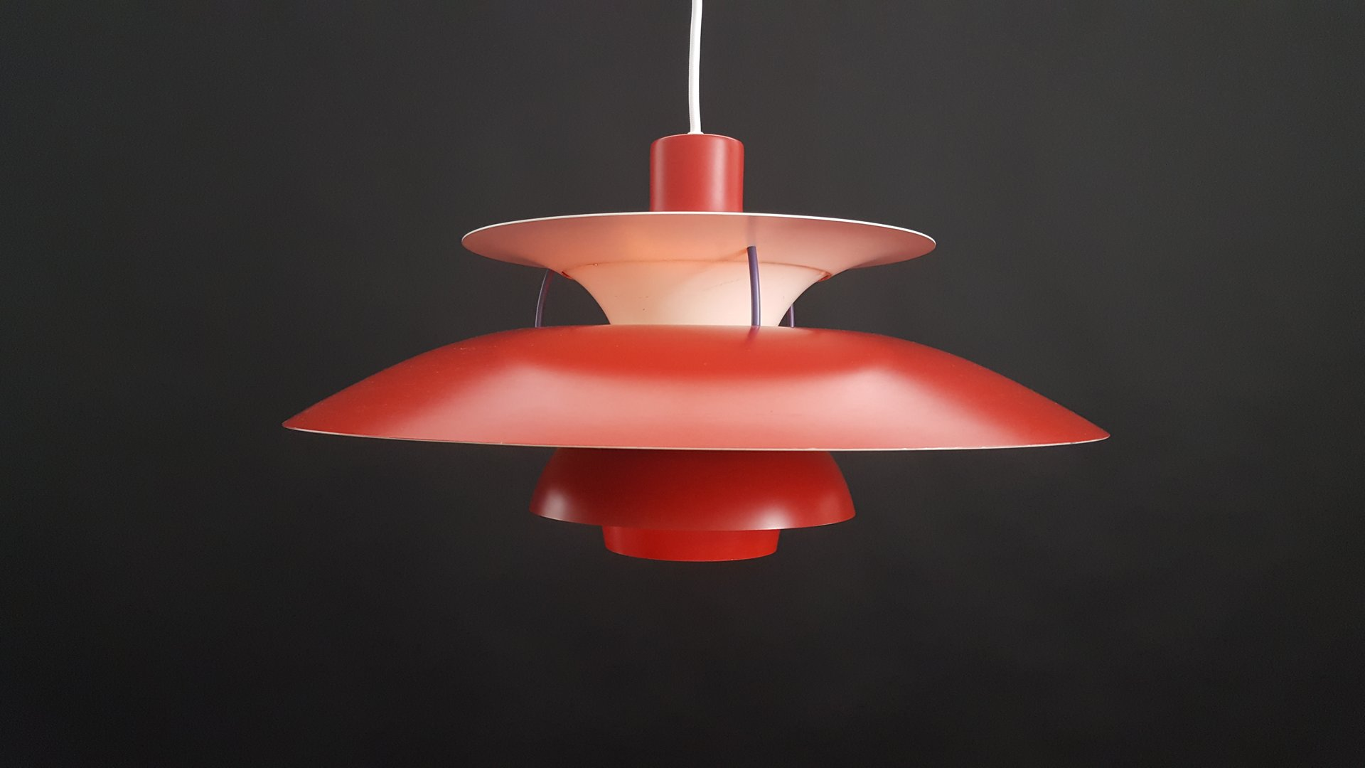 Vintage Red Danish Ph5 Pendant Light By Poul Henningsen