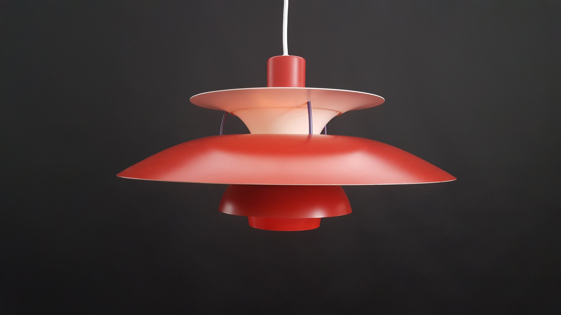 vintage red danish ph5 pendant light by poul henningsen for louis poulsen for sale at pamono. Black Bedroom Furniture Sets. Home Design Ideas