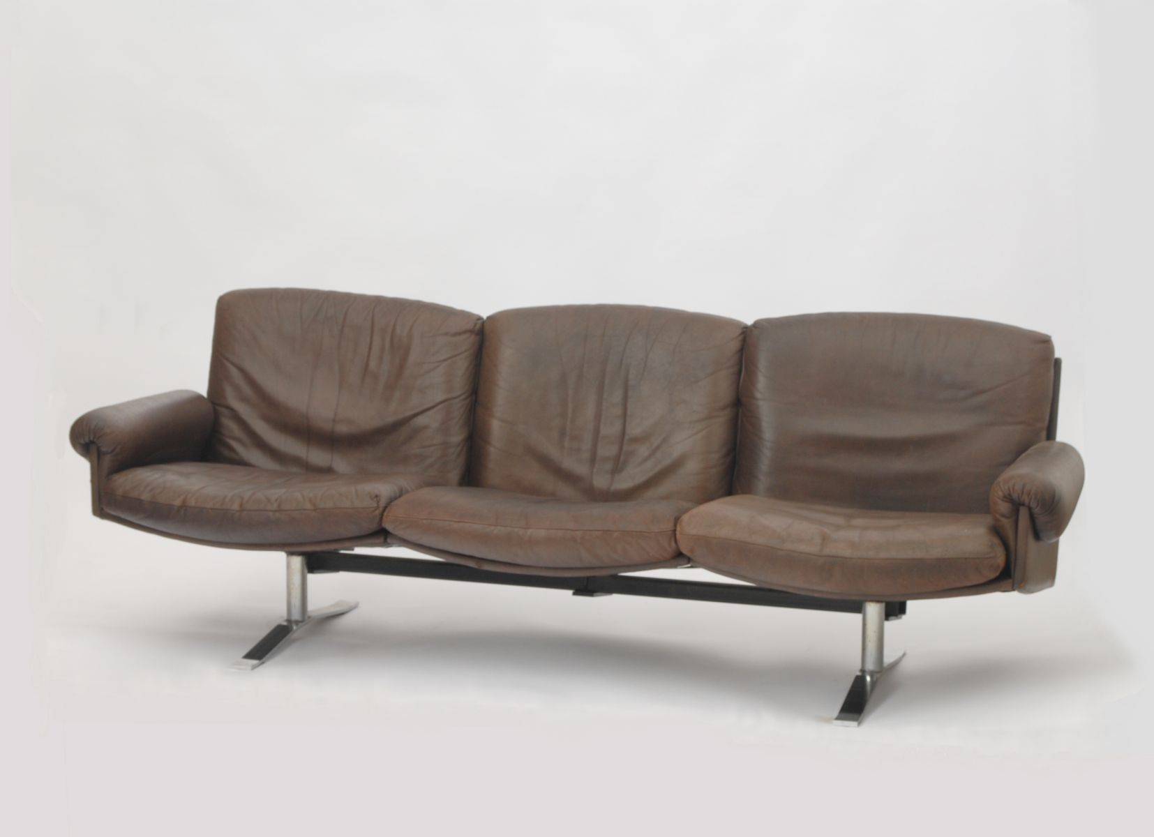 Mid Century German 3 Seater Leather Sofa