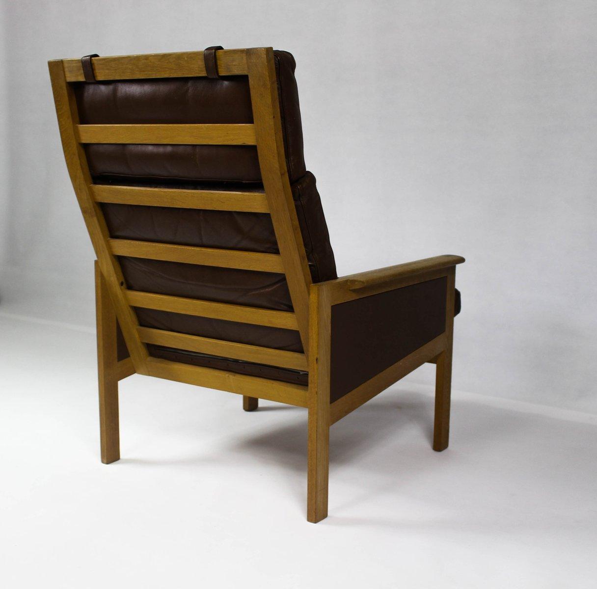 schwarzer d nischer vintage capella sessel mit hoher r ckenlehne von illum wikkels f r eilersen. Black Bedroom Furniture Sets. Home Design Ideas