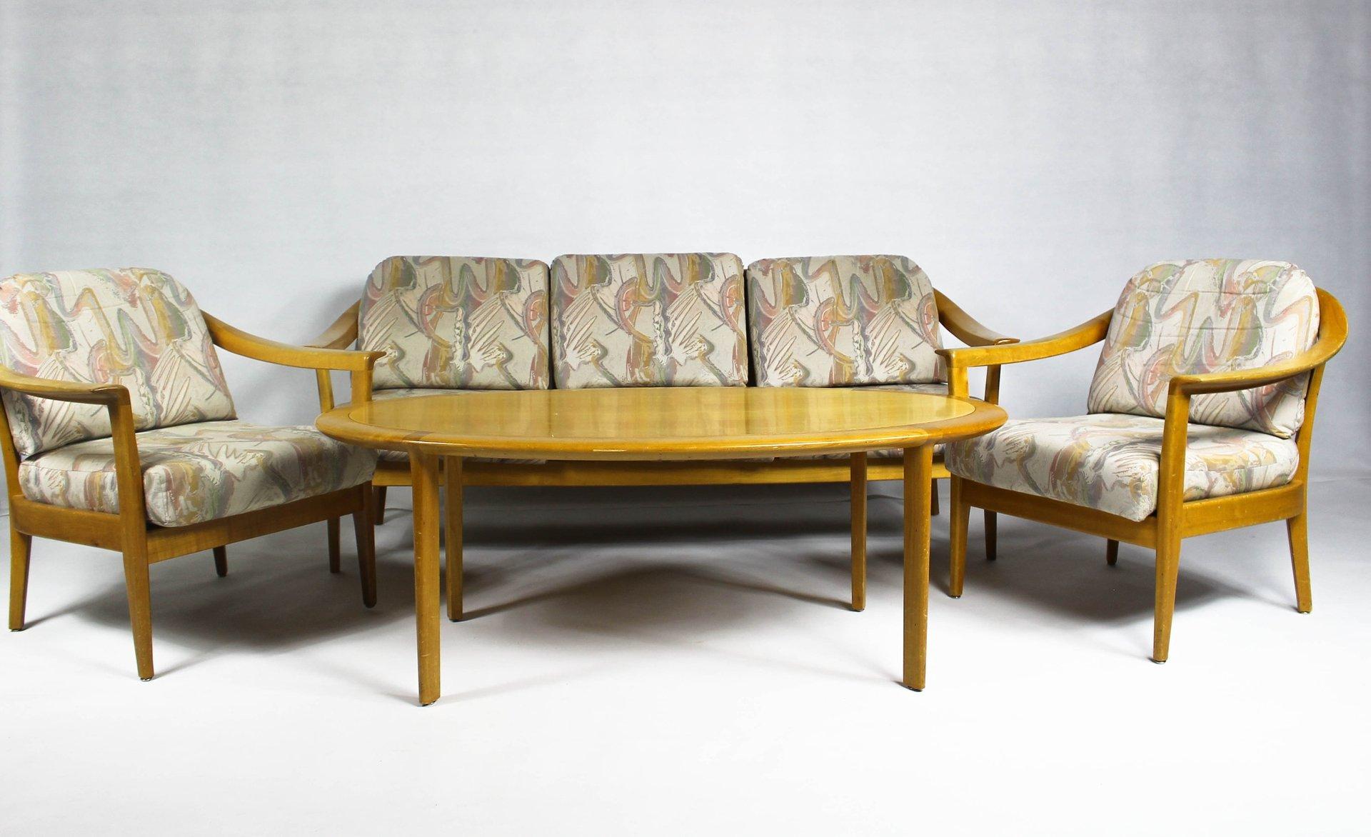 Vintage German Cherrywood Lounge Suite by Wilhelm Knoll for Knoll ...