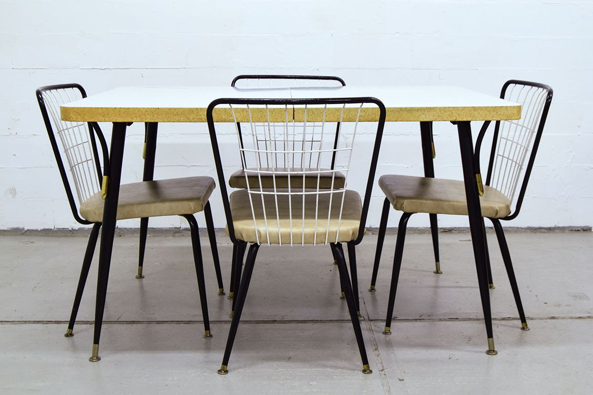 Vintage dining table with 4 chairs for sale at pamono for 10 chair dining table