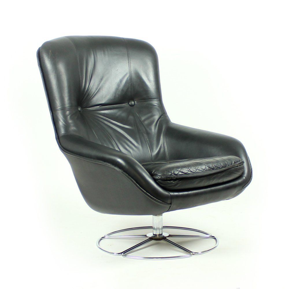 Finnish Black Leather Armchair From Peem, 1960s