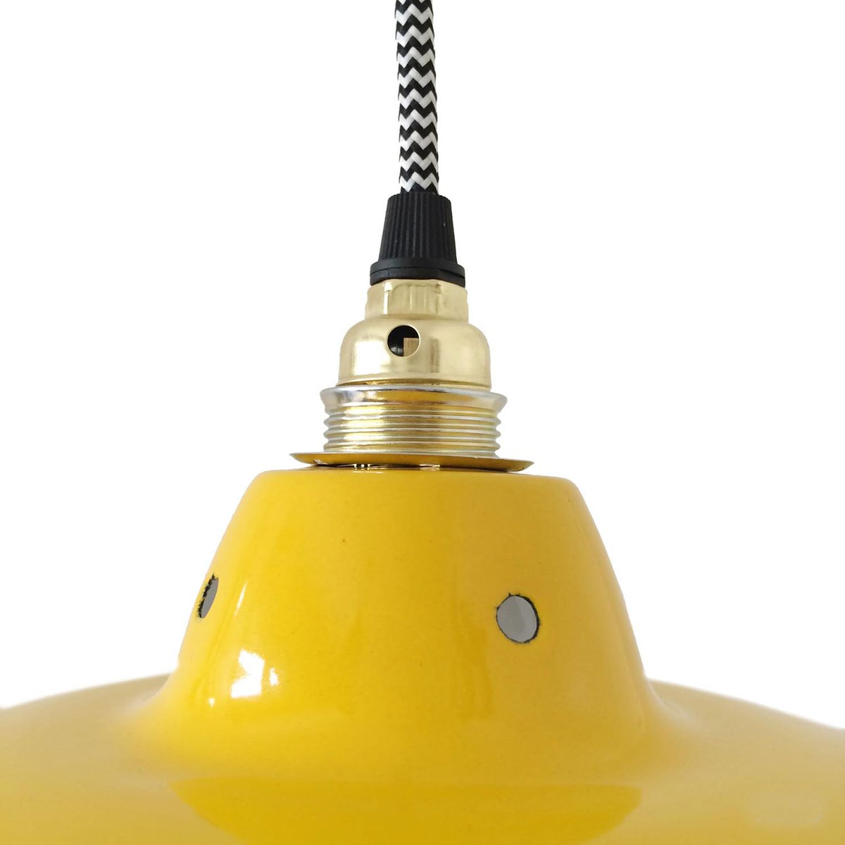 Vintage Industrial Yellow Enameled Pendant Light For Sale