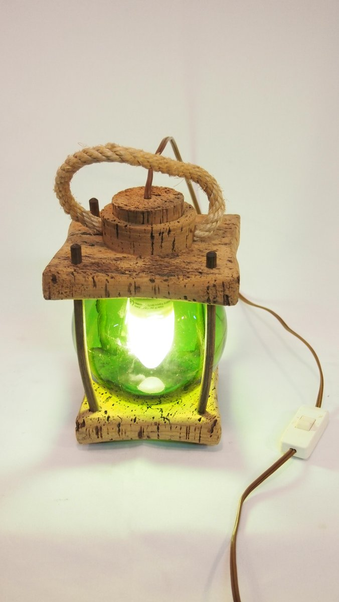 Mediterranean Cork Green Lantern Table Lamp For Sale At Pamono