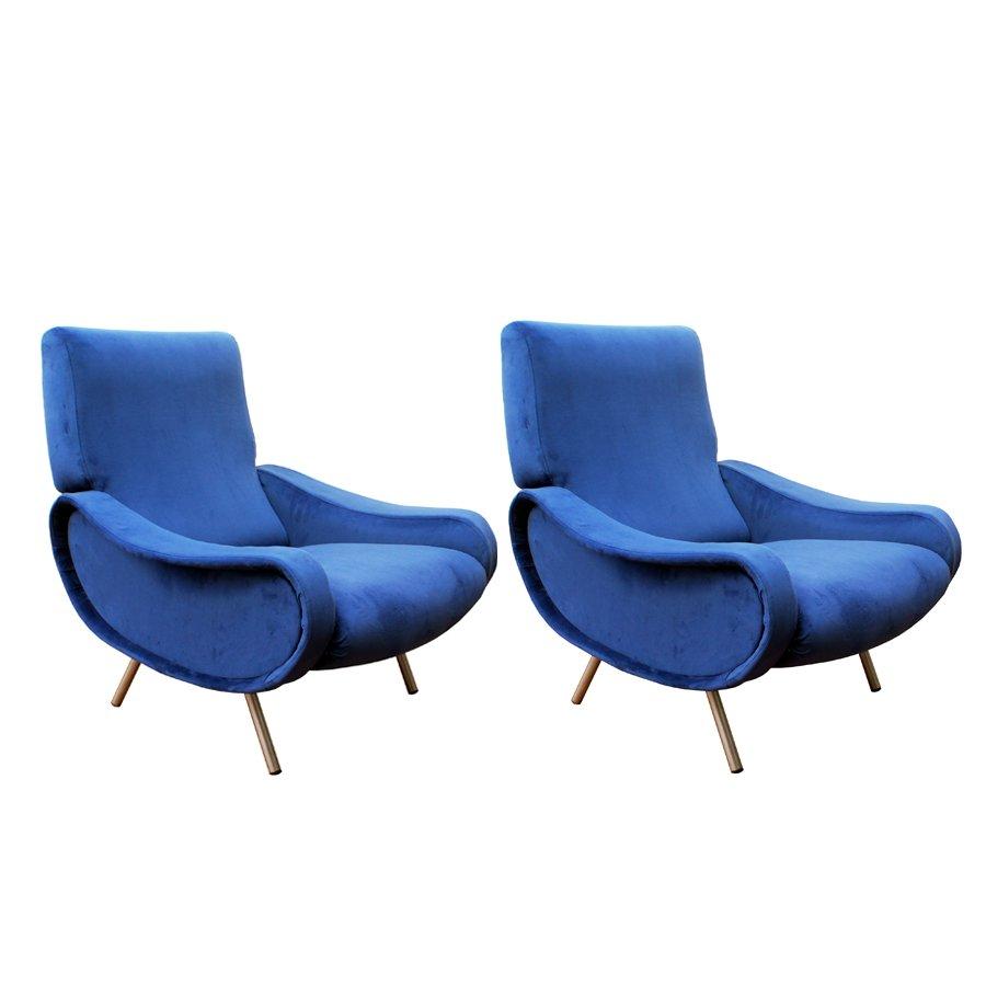 Poltrone Lady Mid-Century blu di Marco Zanuso per Arflex, set di 2 ...