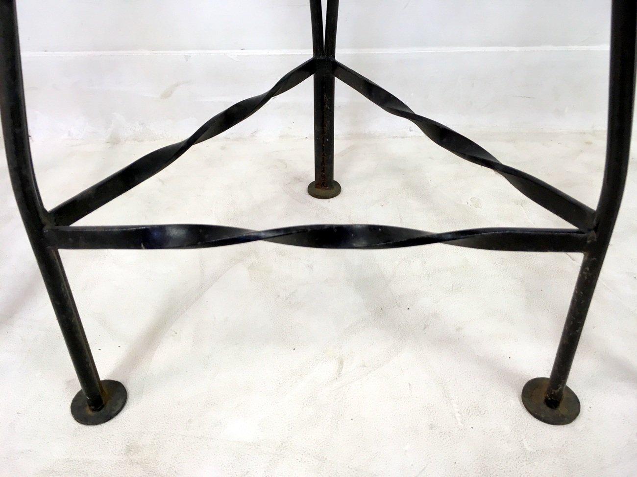 Italian Vintage Iron Bar Stools 1970s Set Of 3 For Sale