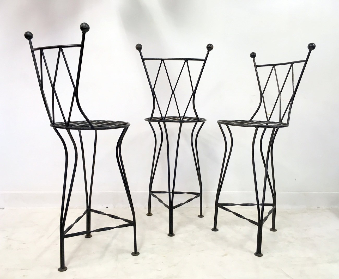 Italian Vintage Iron Bar Stools 1970s Set Of 3 For Sale
