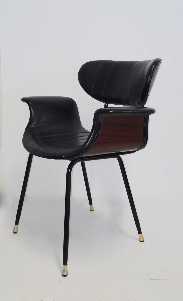 mid century stuhl aus palisander leder 1950er bei pamono kaufen. Black Bedroom Furniture Sets. Home Design Ideas
